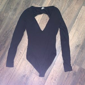 Black long sleeve deep V Out From Under bodysuit
